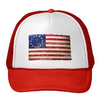 Gorra hecho andrajos vintage de la bandera america