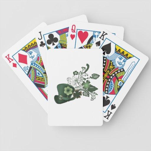 Gorra irlandés del trébol baraja de cartas