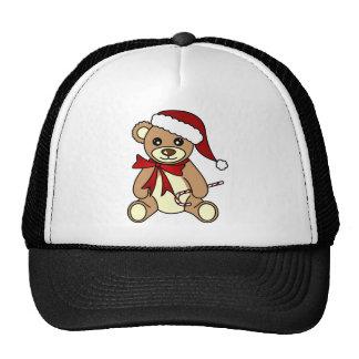 Gorra lindo de Santa del oso de peluche del navida