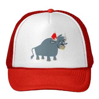 Gorra lindo del camionero de Bull del dibujo anima