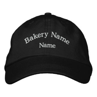Gorra negro bordado nombre de la panadería gorra de béisbol bordada