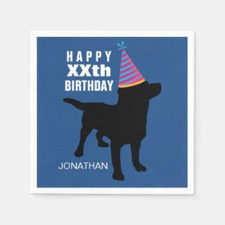 Gorra negro divertido del cumpleaños del perro del servilletas de papel