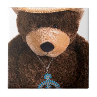 Gorra occidental de la turquesa del oso de peluche azulejo cuadrado pequeño