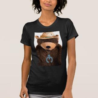 Gorra occidental de la turquesa del oso de peluche camiseta