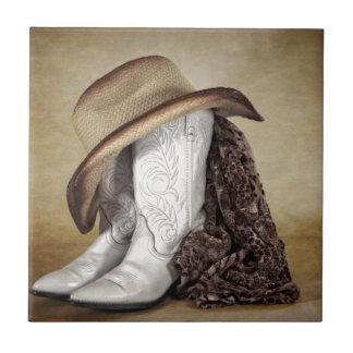 Gorra occidental del cordón de la bota de la azulejo cuadrado pequeño