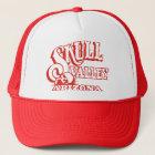 Gorra rojo del camionero con el valle rojo del