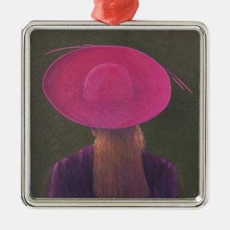 Gorra rosado 2014 adorno navideño cuadrado de metal