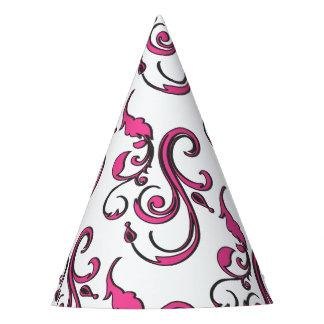 Gorra rosado del fiesta del papel de los remolinos