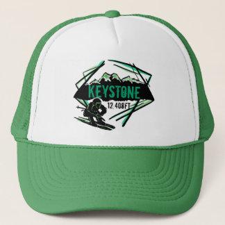 Gorra trapezoidal del verde de la elevación del