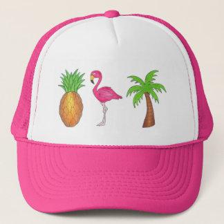 Gorra tropical del flamenco del rosa de la piña de