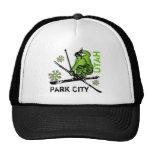 Gorra verde del esquiador del tema de Park City Ut