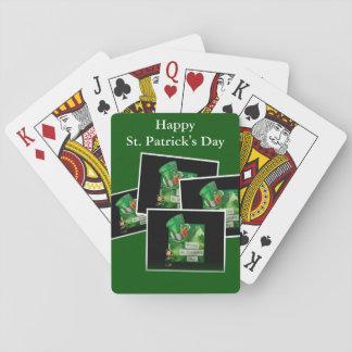 Gorra y Leprechaun del día de St Patrick Cartas De Póquer