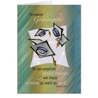 Gorras de la graduación de la ahijada en el aire, tarjeta de felicitación