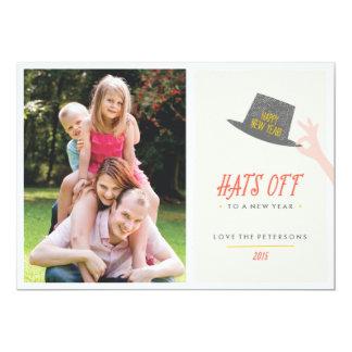 Gorras de la tarjeta del Año Nuevo - carmesí Invitación 12,7 X 17,8 Cm