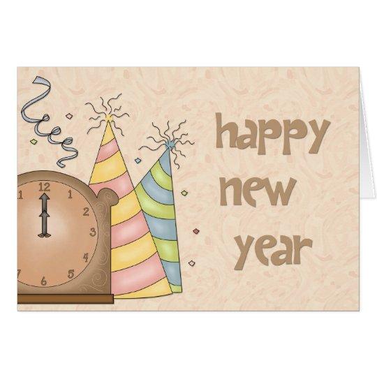 Gorras del fiesta de la Feliz Año Nuevo, tarjeta
