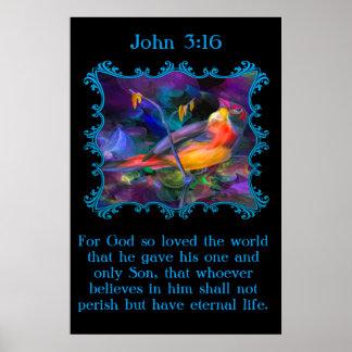 Gorrión colorido del arco iris hermoso del 3:16 de póster