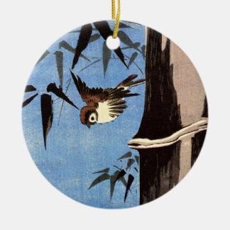 Gorrión y bambú Ando Hiroshige Ornamentos De Reyes