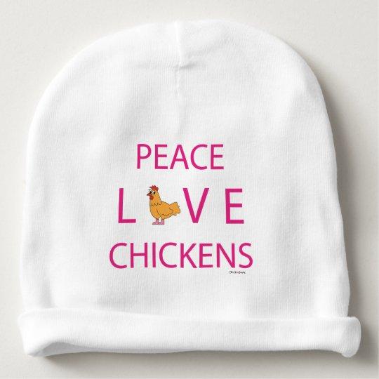 Gorrita tejida del niño de los pollos del amor de gorrito para bebe
