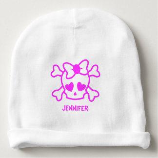 Gorrita tejida femenina rosada de la niña del gorrito para bebe