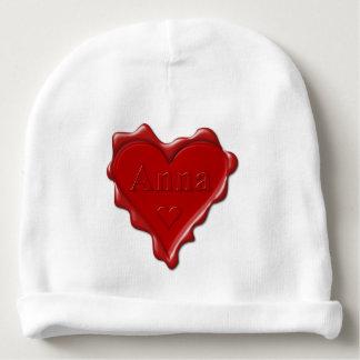 Gorrito Para Bebe Ana. Sello rojo de la cera del corazón con Ana