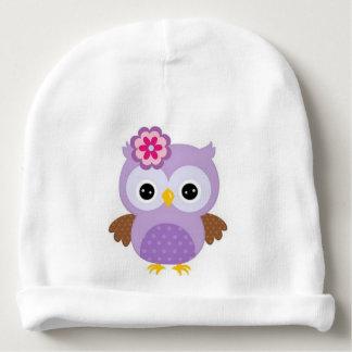 Gorrito Para Bebe Búho púrpura lindo