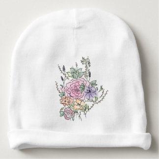 Gorrito Para Bebe diseño floral del estilo de la acuarela