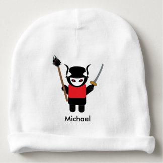 Gorrito Para Bebe El gato del gatito del samurai con el ratón