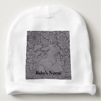 Gorrito Para Bebe El gris entona el regalo personalizado del conejo