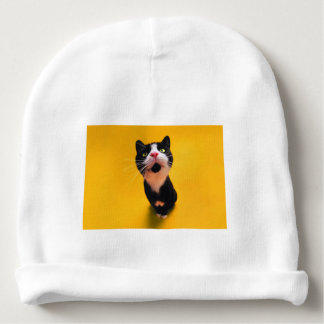 Gorrito Para Bebe Gato blanco y negro del gatito-mascota del