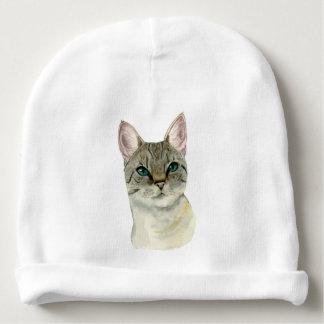 Gorrito Para Bebe Gato de Tabby con la acuarela bonita de los ojos