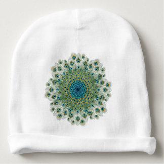 Gorrito Para Bebe Mandala colorida del pavo real masculino