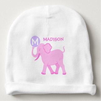 Gorrito Para Bebe Monograma lindo del elefante de la niña rosada del