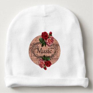 Gorrito Para Bebe Partitura floral color de rosa elegante lamentable