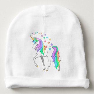 Gorrito Para Bebe Unicornio colorido y estrellas del arco iris