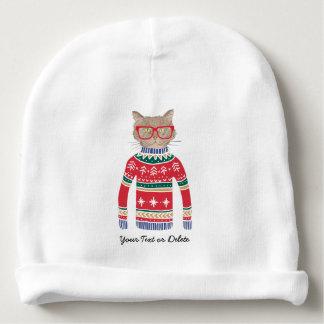 Gorrito Para Bebe Vidrios que llevan del gato divertido, suéter feo
