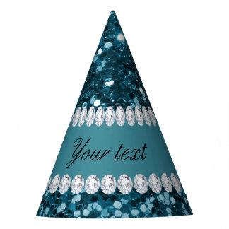 Gorro De Fiesta Brillo azul y diamantes del trullo oscuro falso