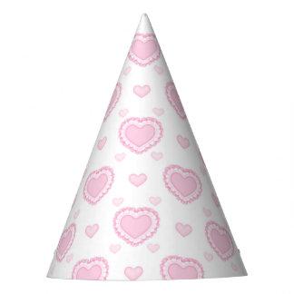 Gorro De Fiesta Corazones rosados y blancos románticos