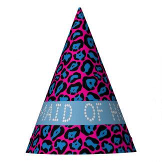 Gorro De Fiesta Criada rosada/azul del diamante del leopardo de
