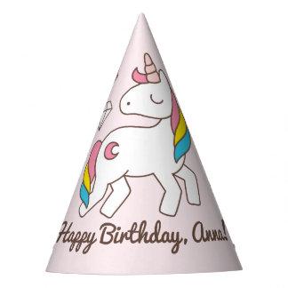 Gorro De Fiesta Cumpleaños. El unicornio lindo con los diamantes