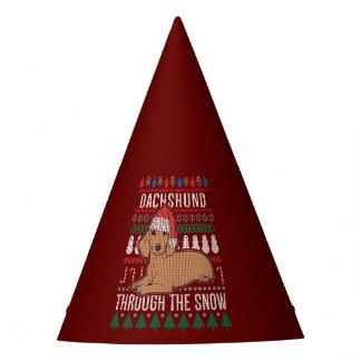 Gorro De Fiesta Dachshund a través del suéter feo del navidad de