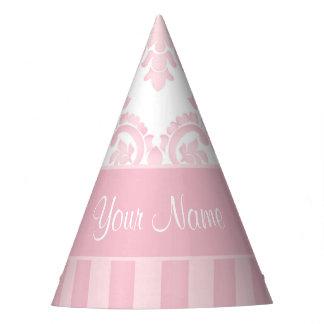 Gorro De Fiesta Damasco y rayas rosados personalizados bonito