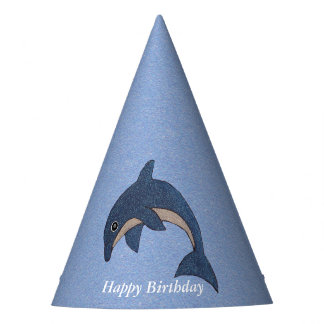 Gorro De Fiesta Delfín blanco azul de salto del cumpleaños del