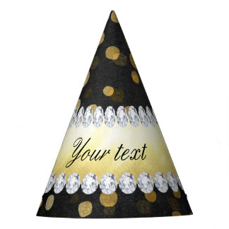 Gorro De Fiesta Diamantes negros del confeti del oro de la pizarra