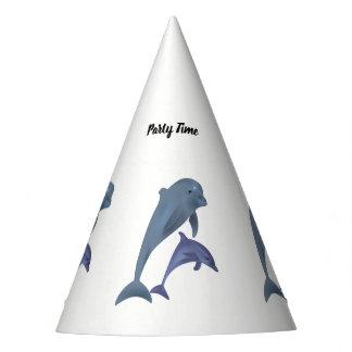 Gorro De Fiesta Dos delfínes tropicales que saltan al lado de uno