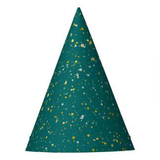 Gorro De Fiesta Espacio elegante del confeti - verde verde azulado