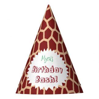 Gorro De Fiesta Estampado de girafa de Brown del color de la