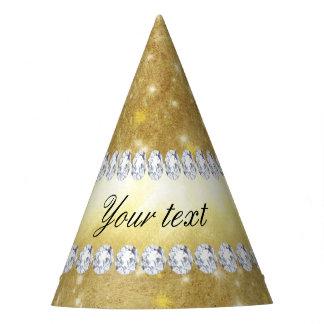 Gorro De Fiesta Estrellas chispeantes y diamantes del oro elegante