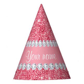 Gorro De Fiesta Falsas lentejuelas rosadas y diamantes