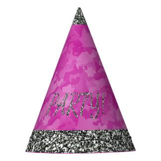 Gorro De Fiesta Falso brillo de plata y Camo rosado