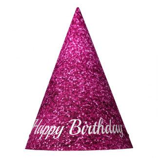 Gorro De Fiesta Feliz cumpleaños del purpurina rosado